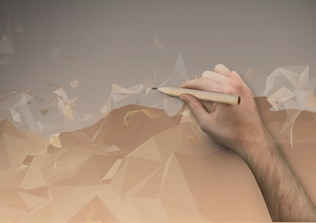 peering: Digital composite of Hand Drawing 3d Polygons mountains