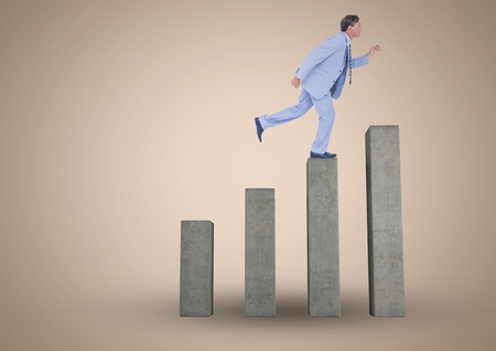 stepping: Digital composite of Businessman climbing on graph post against beige background Stock Photo