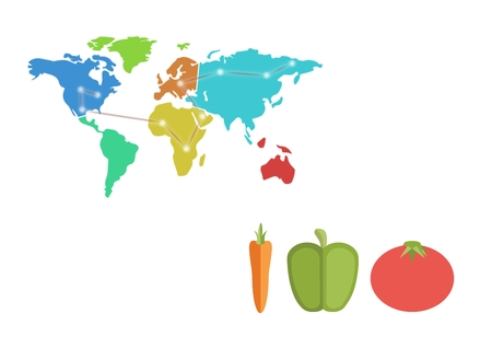 Digital composite of vegetables trade against map of the world Stock Photo