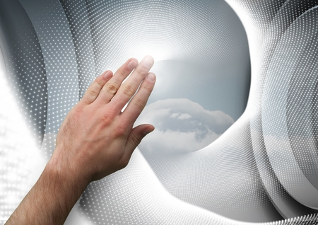 cropped: Digital composite of Hand touching an interaction agaisnt a grey background