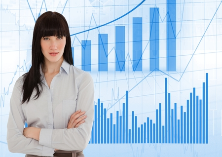 Digital composite of Business woman Standing against graph Stock Photo