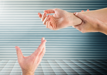 aching: Digital composite of Hands retaining against striped background