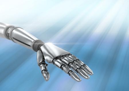 Digital composite of Robot hand against blue background