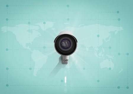 Digital composite of Security camera on green map background