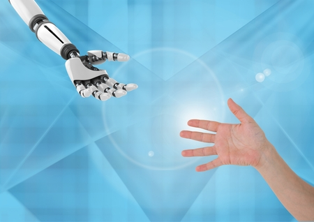 Digital composite of robot Hand Helping human hand against blue background