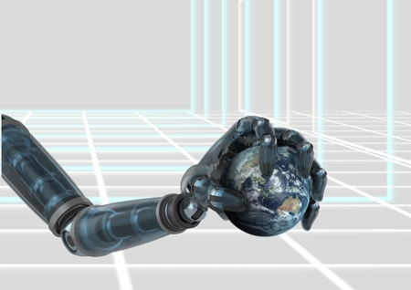 Digital composite of robot hand holding little earth against digital background Stock Photo