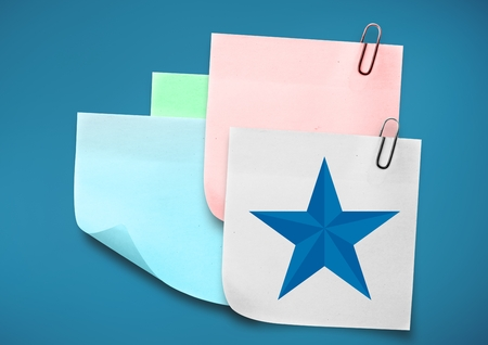 five pointed: Digital composite of colored Sticky Note with Star against blue background