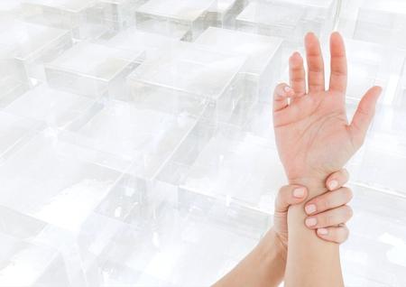 Digital composite of Hand reach restrain Stock Photo