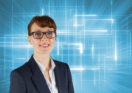 Digital composite of Happy Businesswoman smiling at camera against a blue background