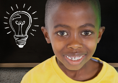 somebody: Digital composite of kid and blackboard with lightbulb against a black background