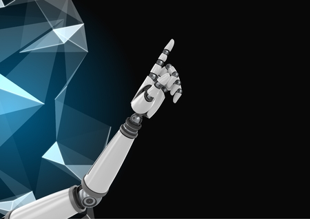 viewing angle: Digital Composite Image of a robotic hand with polygon against a black background