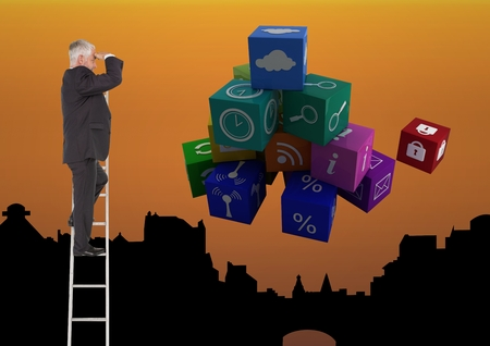 Digital composite of Businessman on a Ladder looking at the future against an orange city background