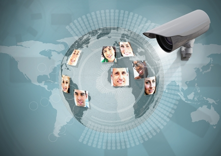 Digital composite of Composite Image of Security camera against blue map with globe background