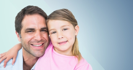 Digital composite of Father and his daughter smiling at camera against a blue background
