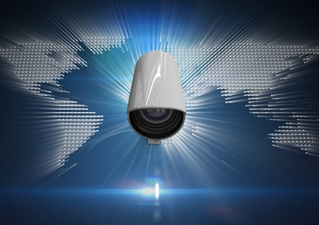 camaraderie: Digital composite of Composite Image of Security camera on white and blue map background