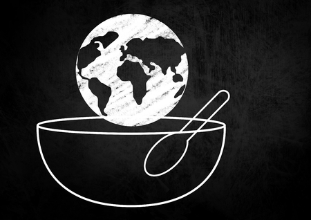 Digital composite of Composite image of a globe on a Food Bowl with Spoon against a black background