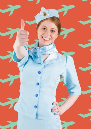 Digital composite of Travel agent against a red background with blue plans