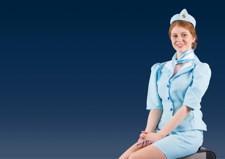 Digital composite of Travel agent against a blue colour background
