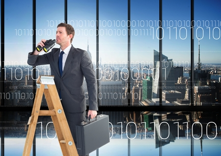 Digital composite of Businessman on a Ladder looking at his objectives against city view Stock Photo