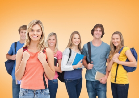 Digital composite of Students Smiling at camera against an orange background