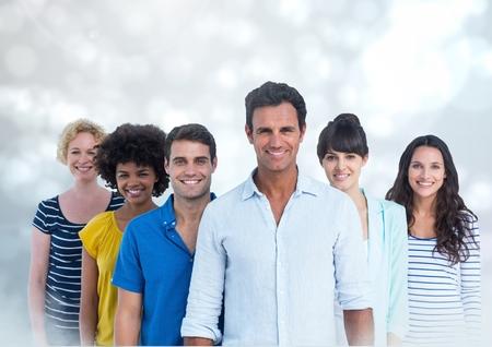 Digital composite of Smiling Group Portrait against a grey background