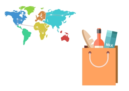 Digital composite image of World Food Trade map against a white background Stock Photo