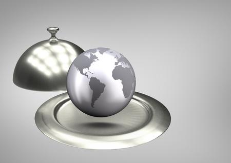 Digital composite a globe on a food platter
