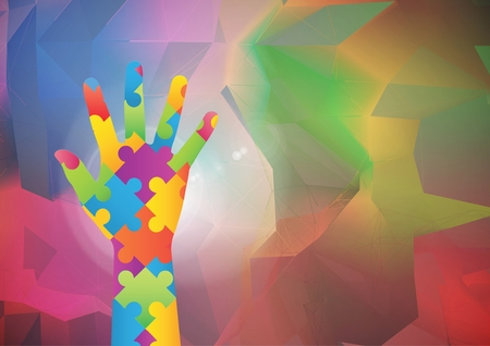 Digital composite of Multicolored Hand against colorful background