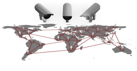 Digital cComposite Image of a Security cameras against a white and grey map background Stock Photo