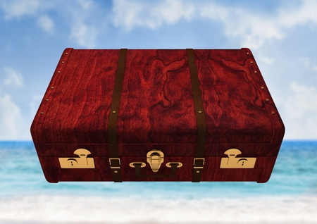 Digital Composite Image of a wood Luggage against a sea background Stock Photo
