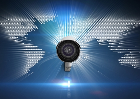 partnership security: Digital composite of Composite image of Security camera against white and blue map background Stock Photo