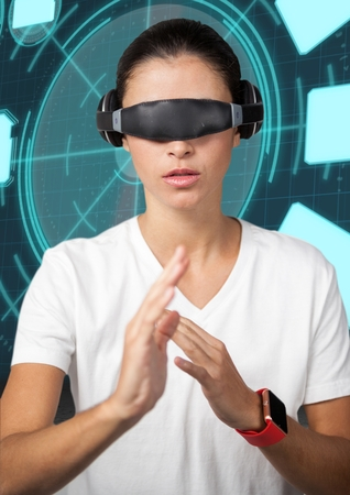 Digital composition of woman wearing virtual reality glasses doing hands gestures against digital background