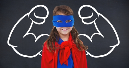 Digital composition of girl in superhero costume against flexed arms background Stock Photo