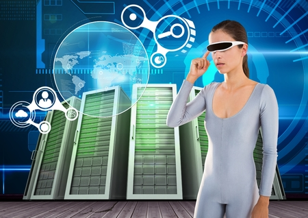 Digital composition of woman using virtual reality glasses against server systems in background