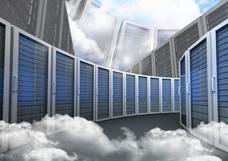 背景の空に対してデータベース ・ サーバ システムのデジタル合成