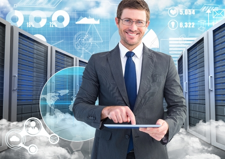 floorboards: Digital composition of businessman using digital tablet against data center in background Stock Photo