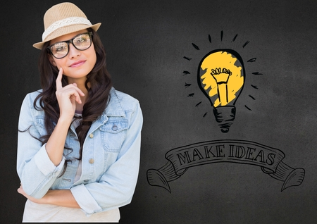 cropped: Digital composition of girl in spectacles with finger on chin against background with bulb and make ideas in text