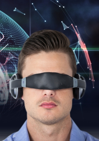 cropped out: Digital composition of man using virtual reality glasses against digitally generated background