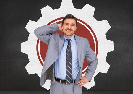 cropped: Digitally composite of smiling businessman standing with hand on hip