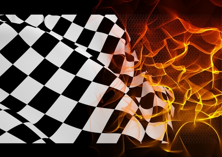 Checker flag and fire against digitally generated background