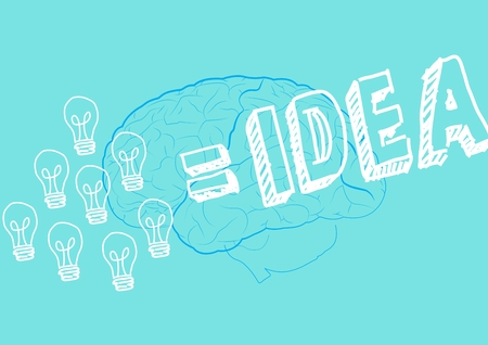 Digitally generated of innovative bulb and brain drawn on green background with text idea Banco de Imagens