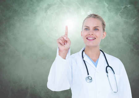 doctor money: Smiling doctor touching interface screen against digitally generated background