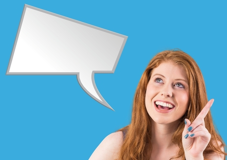 Digital composite image of smiling woman with speech bubble against blue background