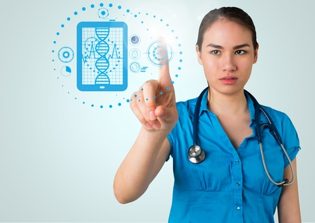 Digitally composite image of doctor touching interface screen with medical icons