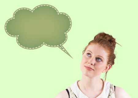 young adult woman: Digital composite image of thoughtful woman looking at speech bubble icon