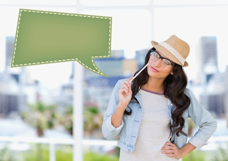 Digital composite image of woman thinking over blank label