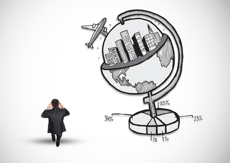 Digital composite image of businessman standing next to business globe concept