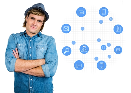 Digitally composite image of smiling man standing against application icons