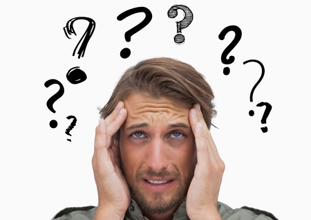 Digital composite image of confused man with graphic question mark over head