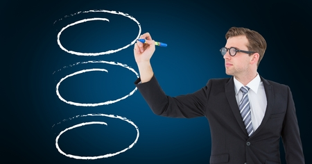 Digitally composite image of businessman drawing a outline against blue background